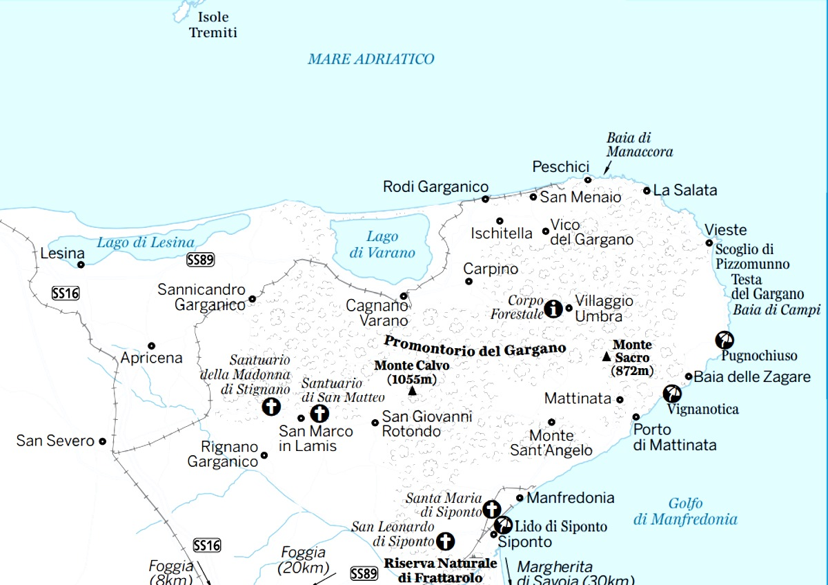 Cartina Puglia Zona Gargano.I Paesi Del Gargano E Del Parco Del Gargano