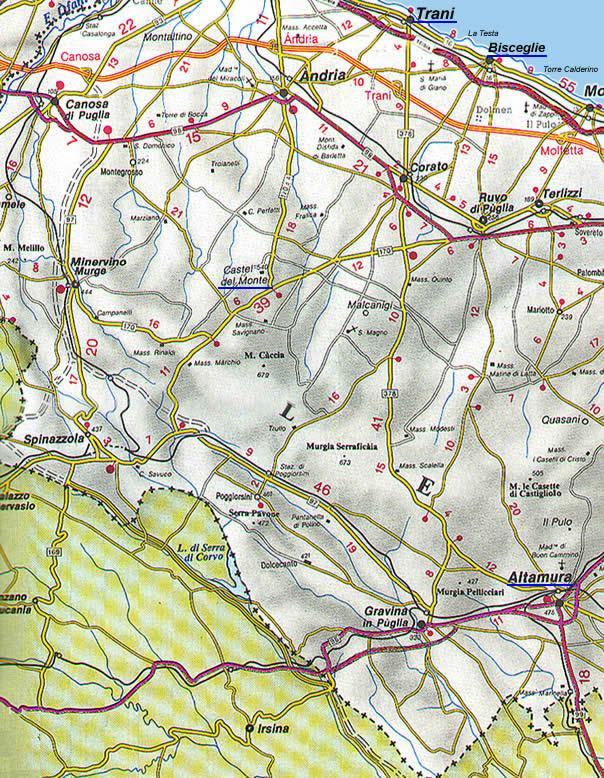 Cartina Dettagliata Puglia.La Cartina Della Puglia Con Mappa Delle Varie Subregioni Della Puglia
