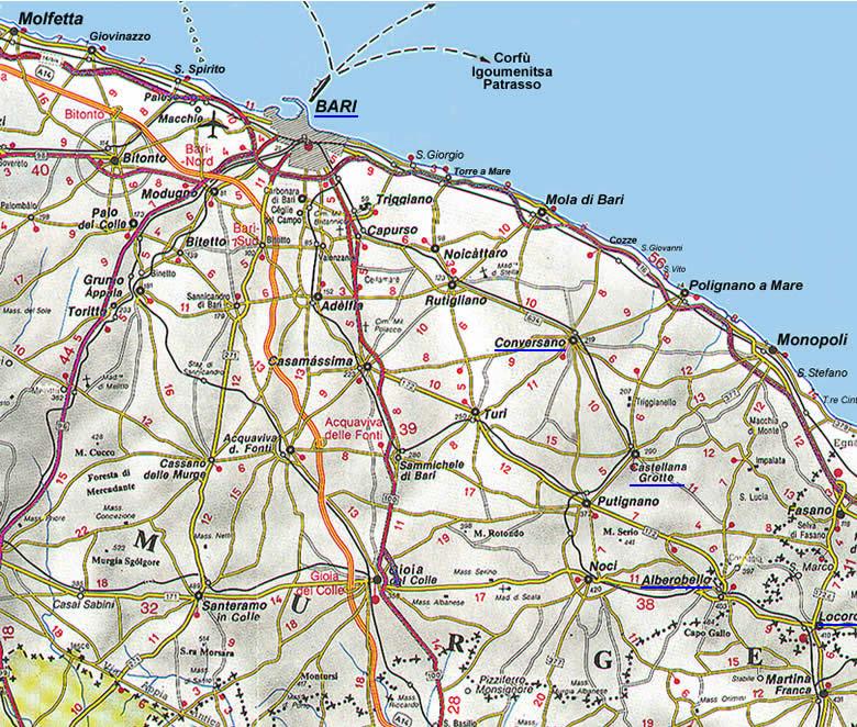 Brindisi Cartina Geografica.La Cartina Della Puglia Con Mappa Delle Varie Subregioni Della Puglia