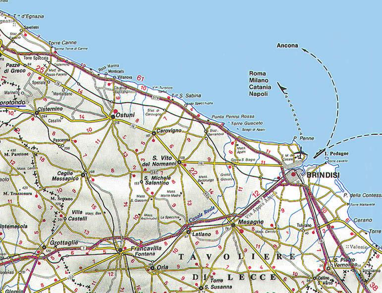 Cartina Geografica Brindisi.La Cartina Della Puglia Con Mappa Delle Varie Subregioni Della Puglia