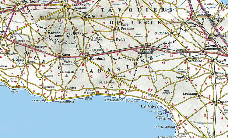 Cartina Autostradale Della Puglia.La Cartina Della Puglia Con Mappa Delle Varie Subregioni Della Puglia
