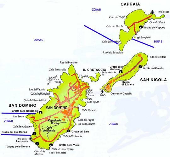 Cartina Puglia Isole Tremiti.La Mappa Delle Isole Tremiti Con Le Isole Di San Domino Caprara San Nicola E Pianosa