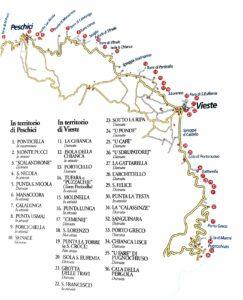 Il fascino dei trabucchi del Gargano sulla cartina
